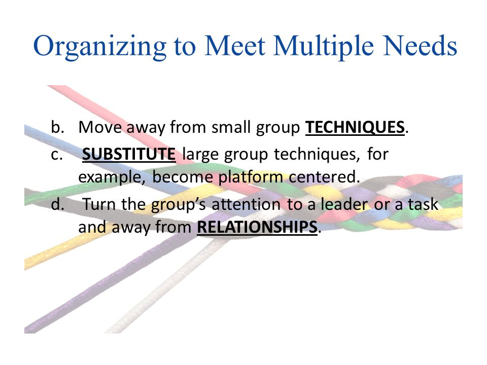Organizing to Meet Multiple Needs b.Move away from small group TECHNIQUES.