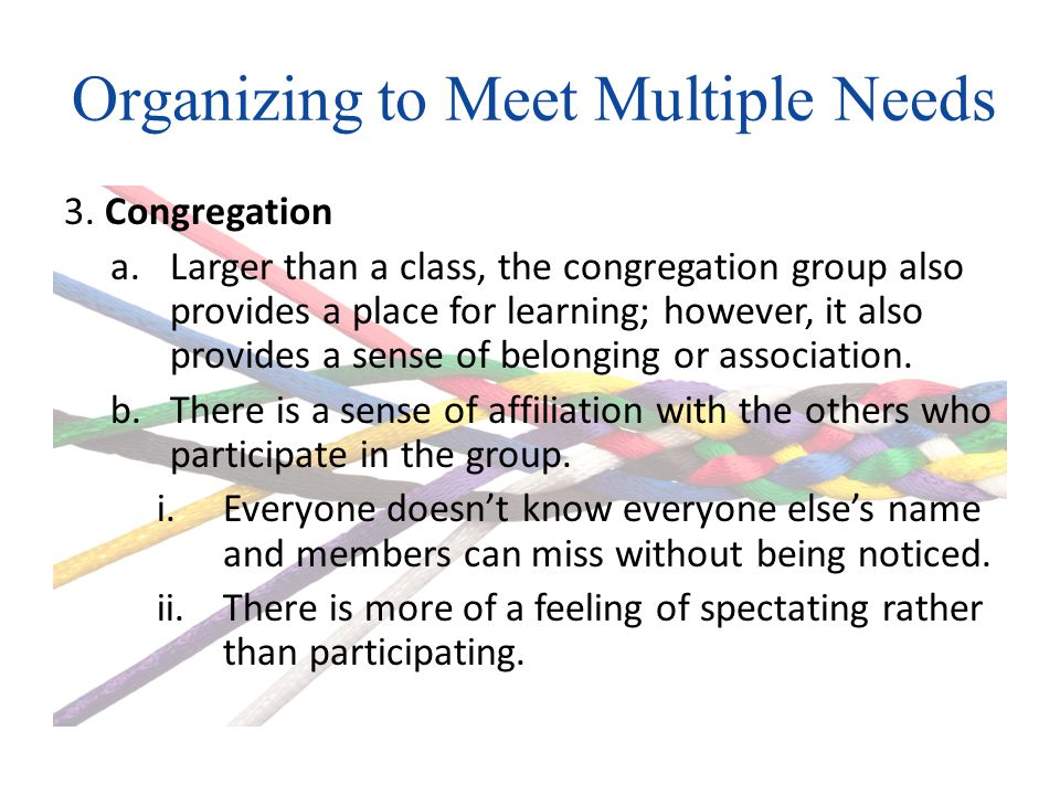 Organizing to Meet Multiple Needs 3.