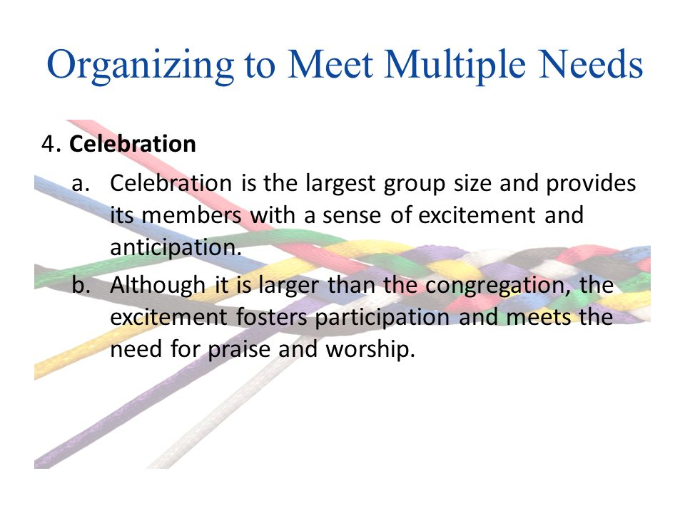 Organizing to Meet Multiple Needs 4.