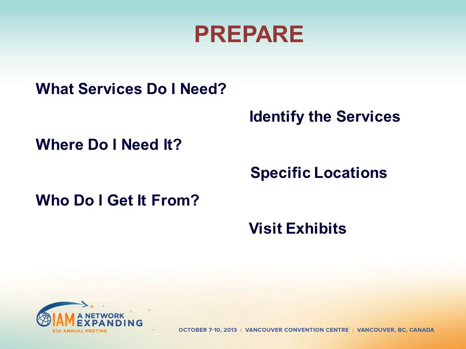 PREPARE What Services Do I Need. Identify the Services Where Do I Need It.