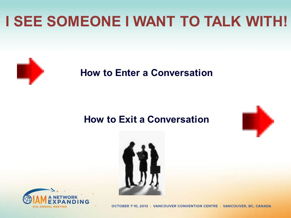 I SEE SOMEONE I WANT TO TALK WITH! How to Enter a Conversation How to Exit a Conversation