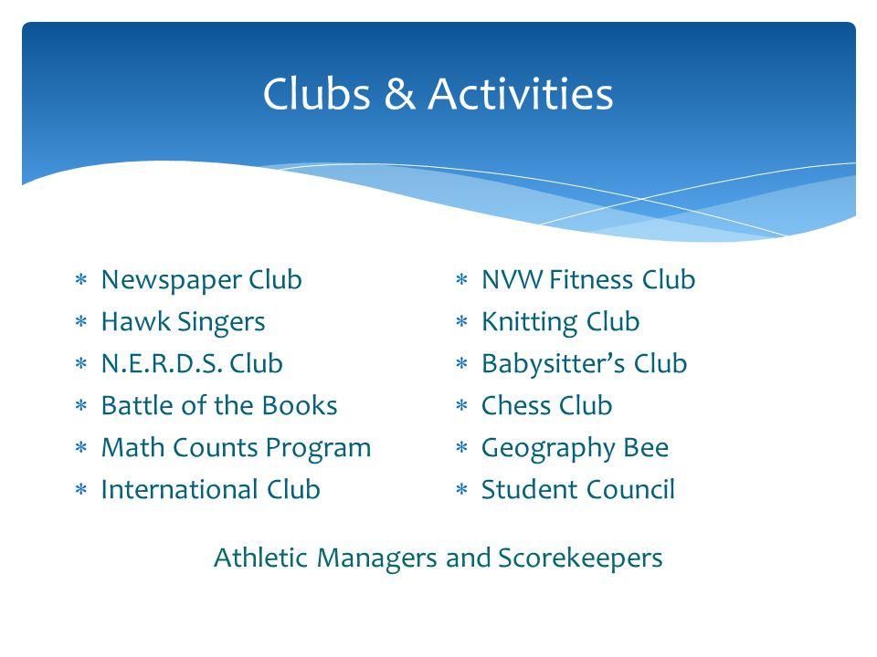 Clubs & Activities Newspaper Club Hawk Singers N.E.R.D.S.