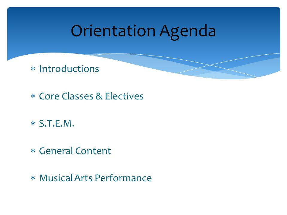 Introductions Core Classes & Electives S.T.E.M.