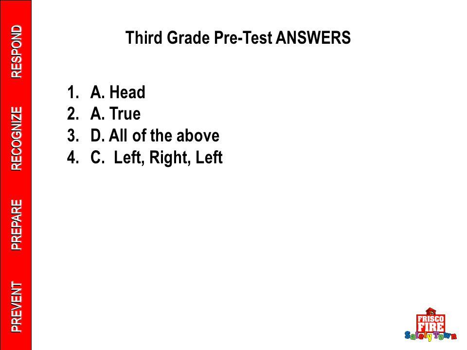 PREVENT PREPARE RECOGNIZE RESPOND Third Grade Pre-Test ANSWERS 1.A.