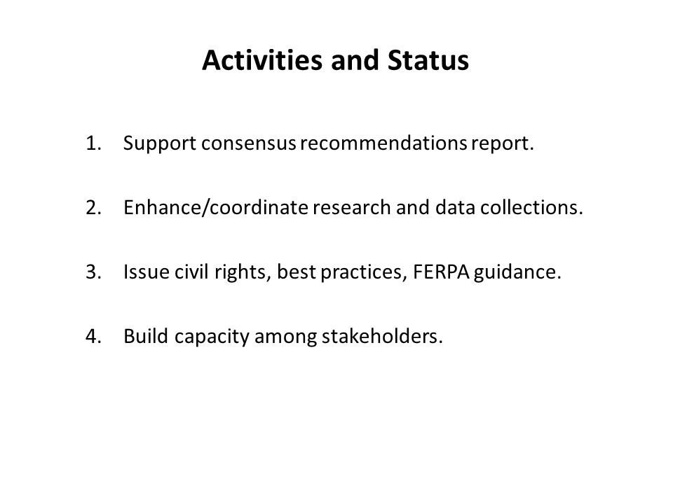 Activities and Status 1.Support consensus recommendations report.