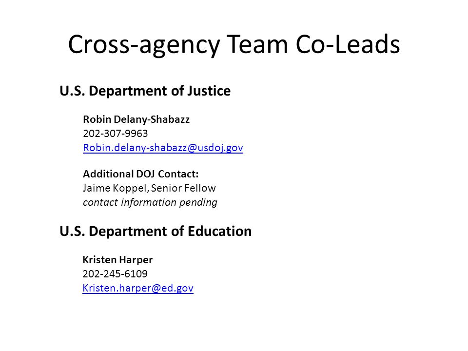 Cross-agency Team Co-Leads U.S.