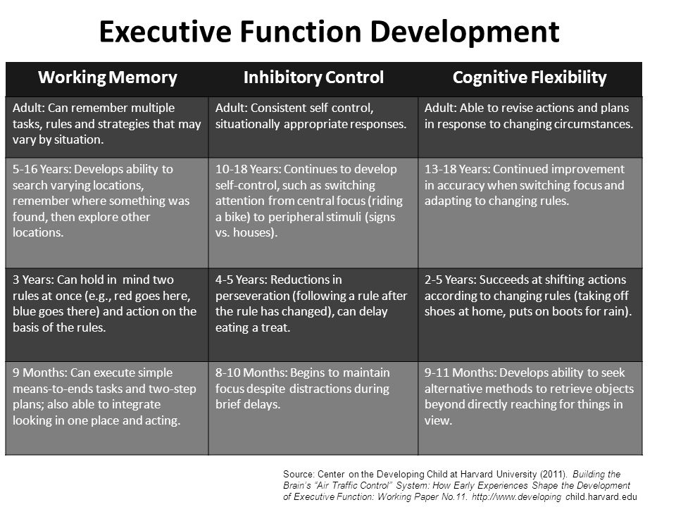 Executive Function Development Working MemoryInhibitory ControlCognitive Flexibility Adult: Can remember multiple tasks, rules and strategies that may vary by situation.