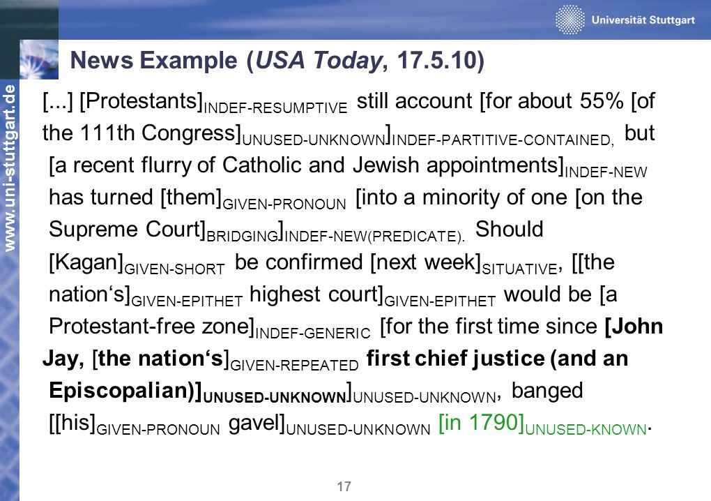 www.uni-stuttgart.de 17 News Example (USA Today, 17.5.10) [...] [Protestants] INDEF - RESUMPTIVE still account [for about 55% [of the 111th Congress] UNUSED - UNKNOWN ] INDEF - PARTITIVE - CONTAINED, but [a recent flurry of Catholic and Jewish appointments] INDEF - NEW has turned [them] GIVEN - PRONOUN [into a minority of one [on the Supreme Court] BRIDGING ] INDEF - NEW ( PREDICATE ).
