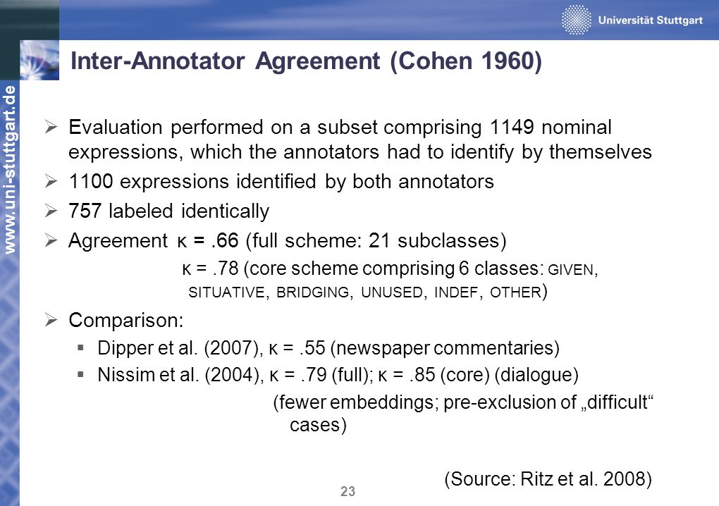 www.uni-stuttgart.de 23 Inter-Annotator Agreement (Cohen 1960) Evaluation performed on a subset comprising 1149 nominal expressions, which the annotators had to identify by themselves 1100 expressions identified by both annotators 757 labeled identically Agreement κ =.66 (full scheme: 21 subclasses) κ =.78 (core scheme comprising 6 classes: GIVEN, SITUATIVE, BRIDGING, UNUSED, INDEF, OTHER ) Comparison: Dipper et al.