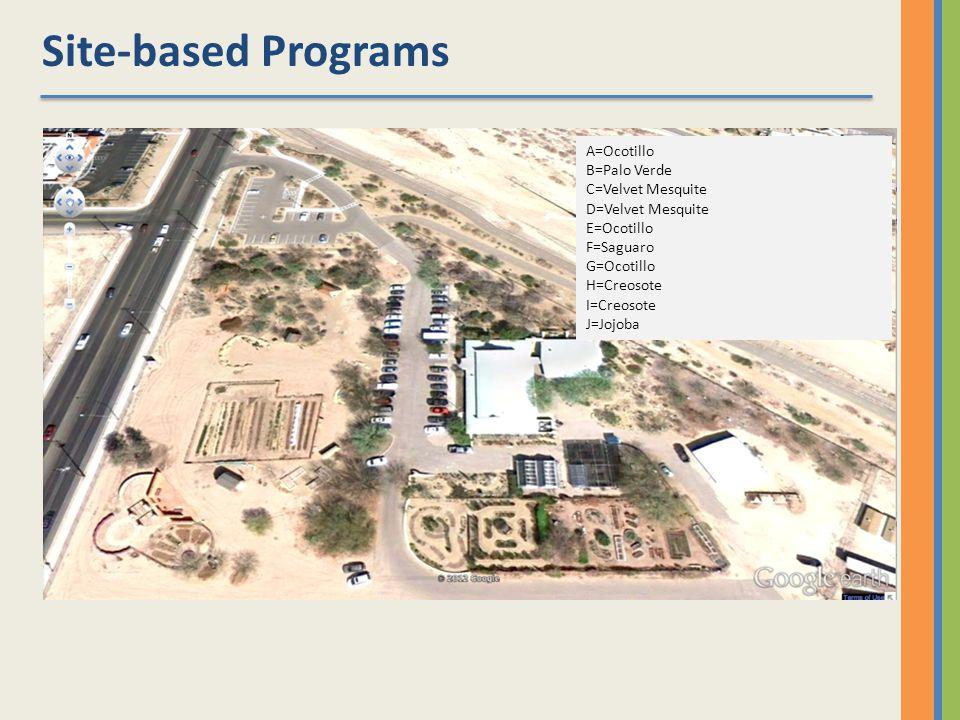 A=Ocotillo B=Palo Verde C=Velvet Mesquite D=Velvet Mesquite E=Ocotillo F=Saguaro G=Ocotillo H=Creosote I=Creosote J=Jojoba Site-based Programs