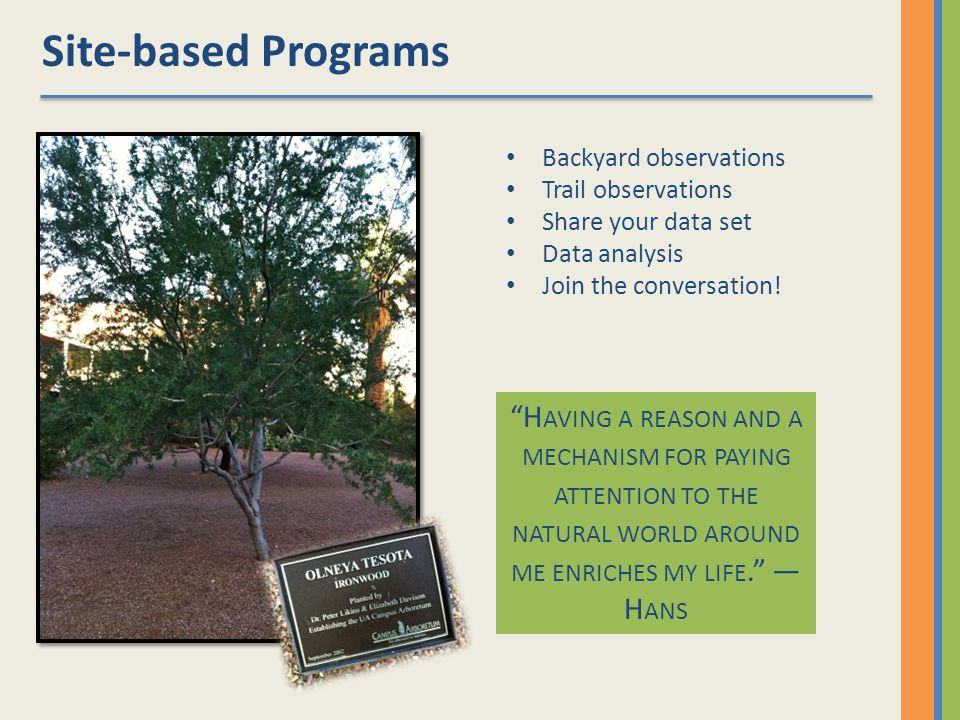 Site-based Programs Backyard observations Trail observations Share your data set Data analysis Join the conversation.