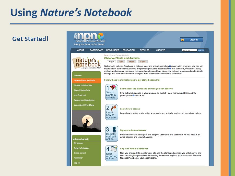 Using Natures Notebook Get Started!
