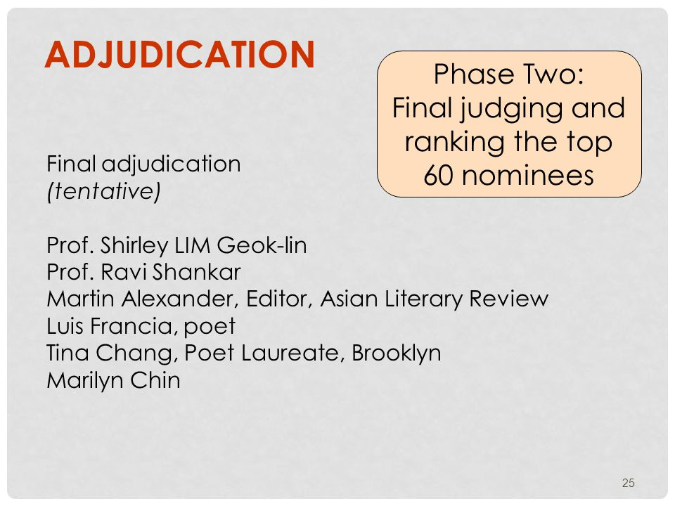 25 ADJUDICATION Phase Two: Final judging and ranking the top 60 nominees Final adjudication (tentative) Prof.