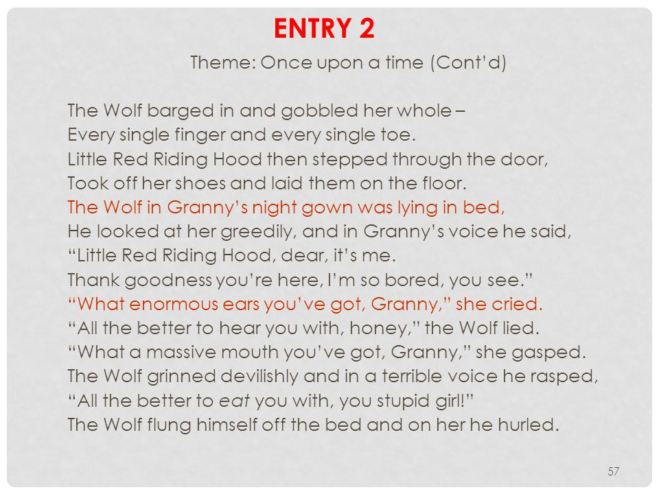 57 ENTRY 2 Theme: Once upon a time (Contd) The Wolf barged in and gobbled her whole – Every single finger and every single toe.
