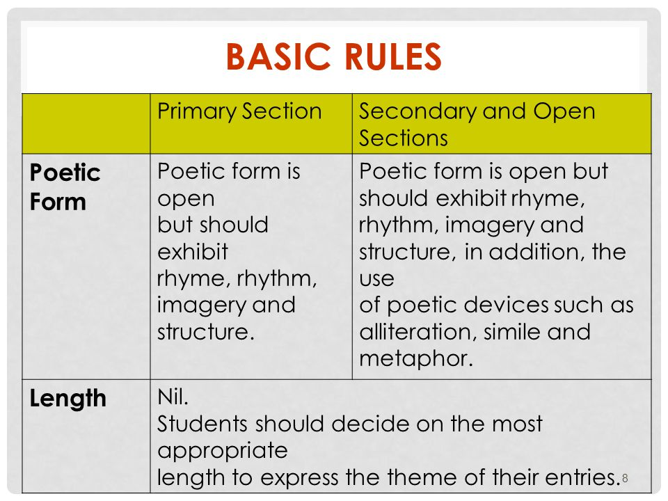 Primary SectionSecondary and Open Sections Poetic Form Poetic form is open but should exhibit rhyme, rhythm, imagery and structure.