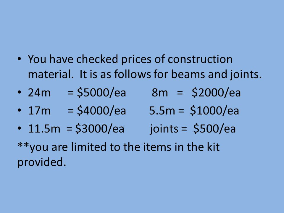 You have checked prices of construction material. It is as follows for beams and joints.