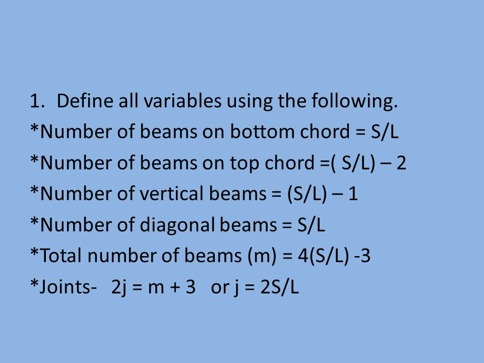 1.Define all variables using the following. *Number of beams on bottom chord = S/L *Number of beams on top chord =( S/L) – 2 *Number of vertical beams