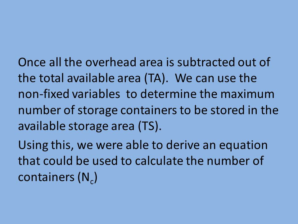 Once all the overhead area is subtracted out of the total available area (TA). We can use the non-fixed variables to determine the maximum number of s