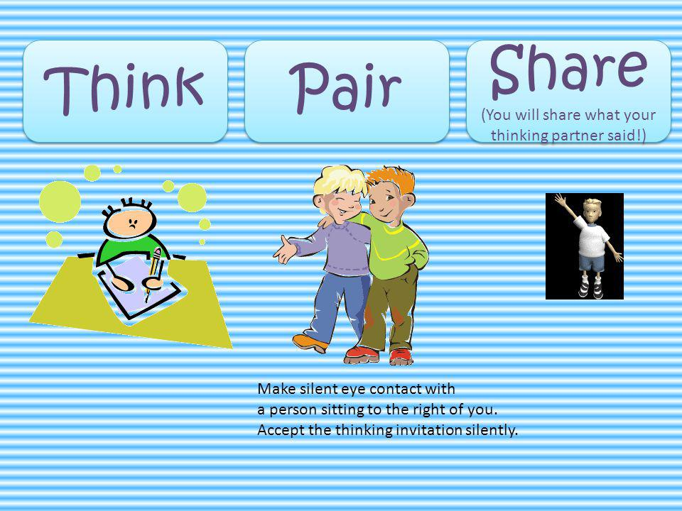 Think Pair Share (You will share what your thinking partner said!) Share (You will share what your thinking partner said!) Make silent eye contact with a person sitting to the right of you.