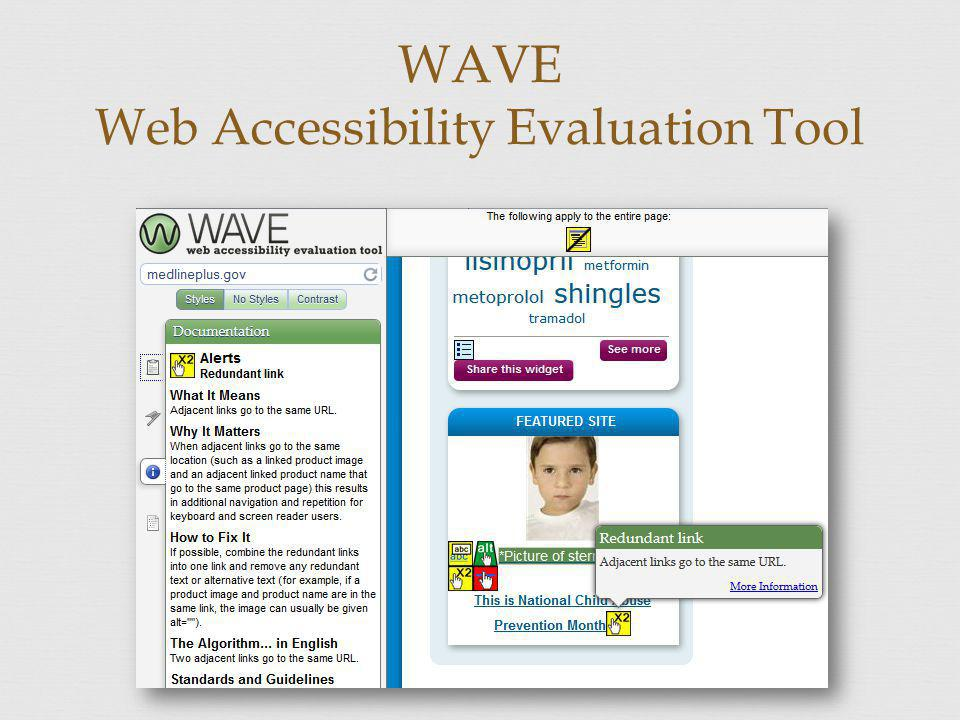WAVE Web Accessibility Evaluation Tool