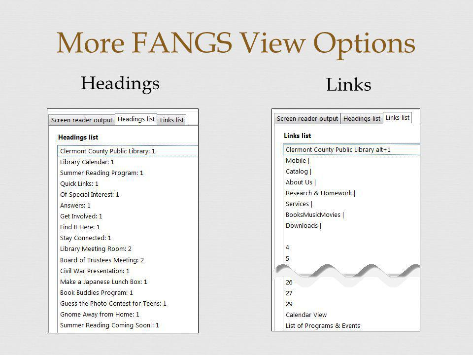 More FANGS View Options Headings Links