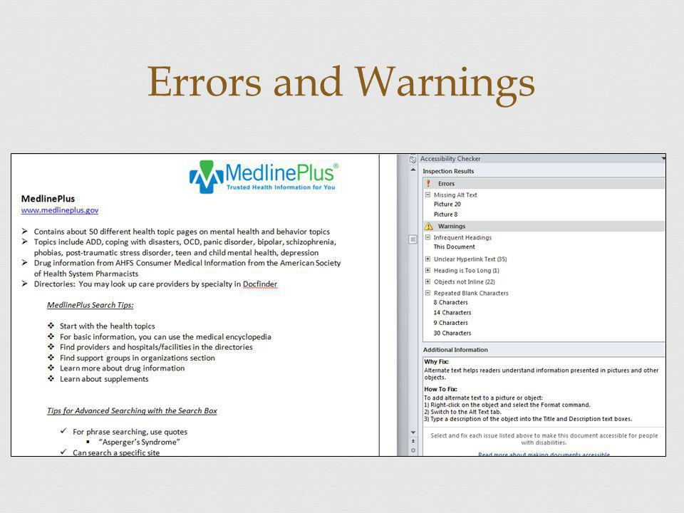 Errors and Warnings