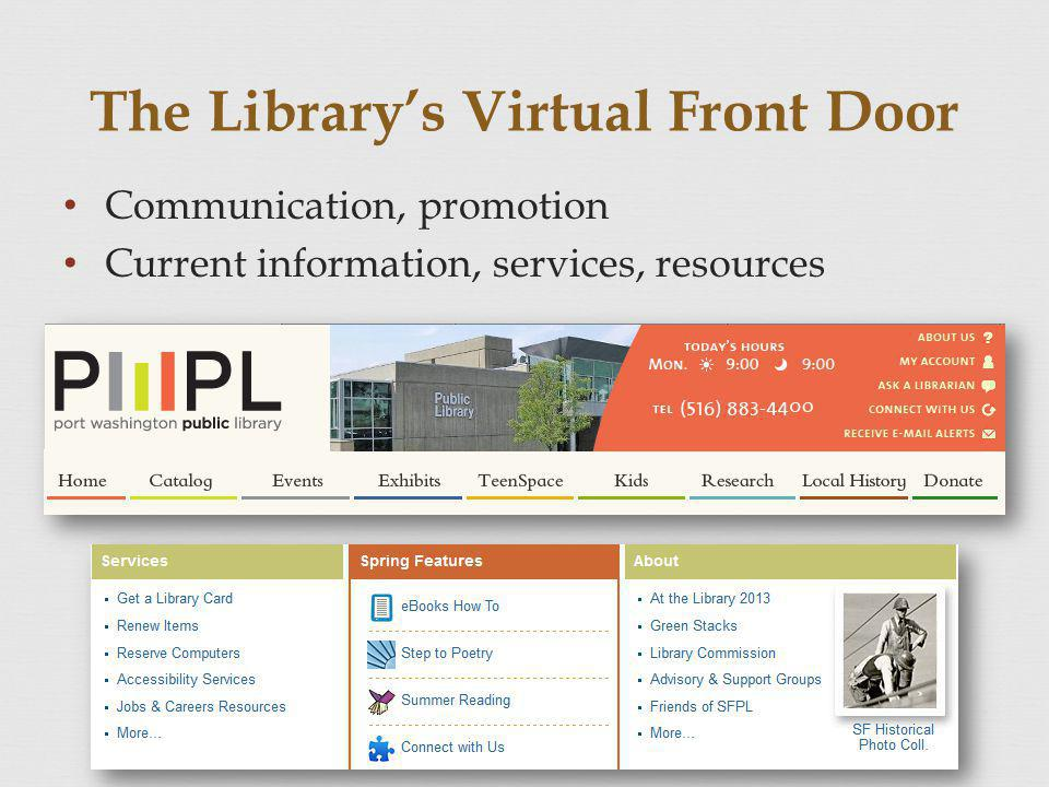 The Librarys Virtual Front Door Communication, promotion Current information, services, resources