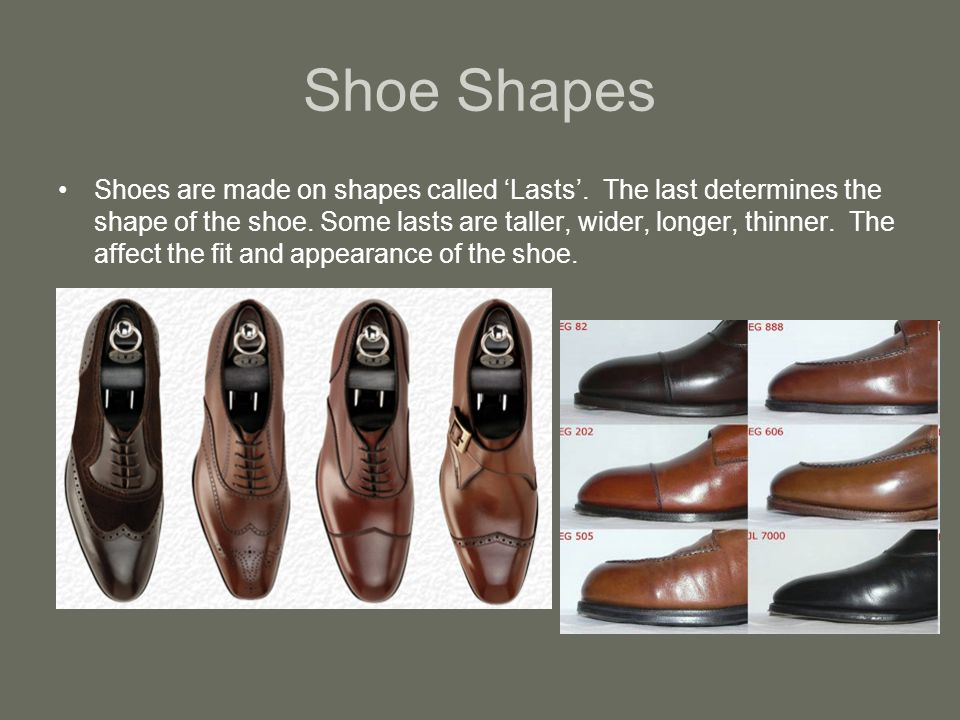 Shoe Shapes Shoes are made on shapes called Lasts.