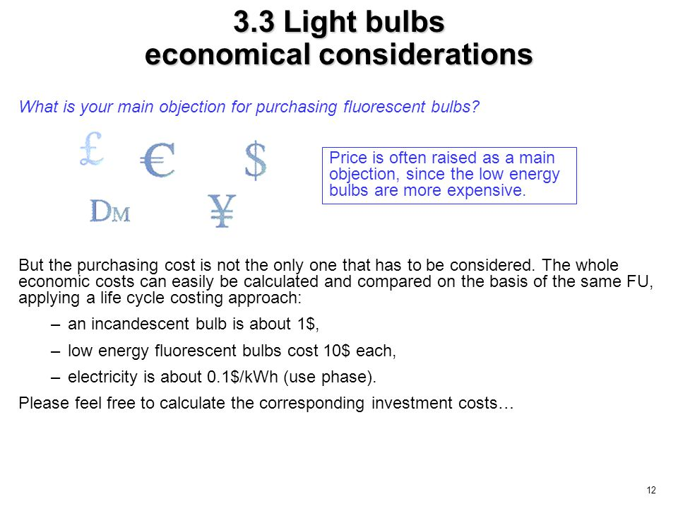 12 3.3 Light bulbs economical considerations What is your main objection for purchasing fluorescent bulbs? But the purchasing cost is not the only one