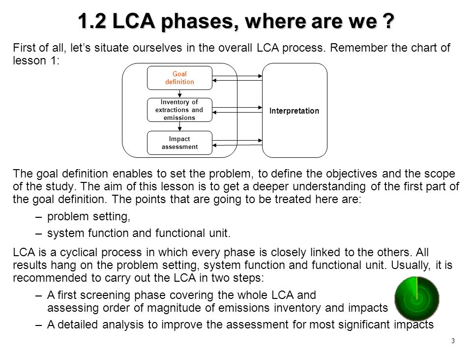 3 1.2 LCA phases, where are we .