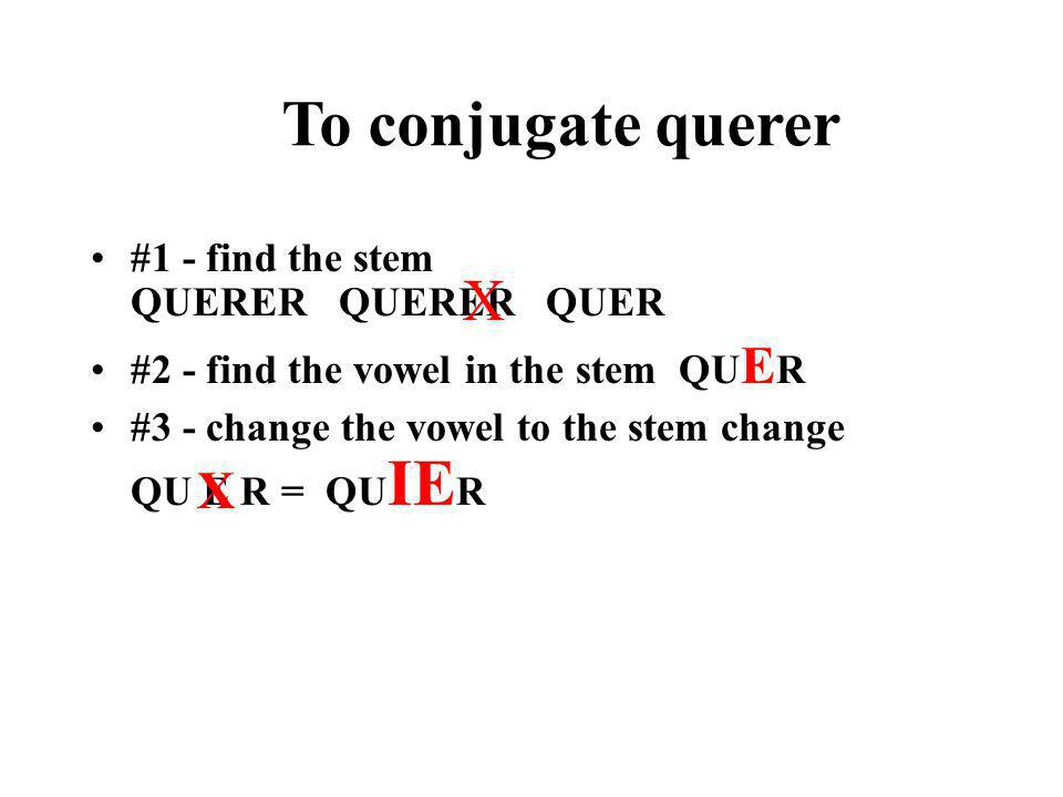 QUERER - TO WANT QUERER is an example of an -er verb with an e>ie stem change.