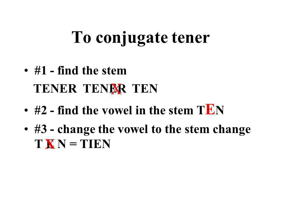 TENER - To have Another e>ie stem changing verb you know is TENER - to have. Tener is also called a go verb because the yo form ends in -go.