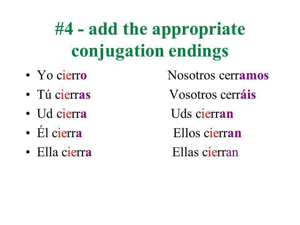#4 - add the appropriate conjugation endings Yo cierro Nosotros cerramos Tú cierras Vosotros cerráis Ud cierra Uds cierran Él cierra Ellos cierran Ella cierra Ellas cierran