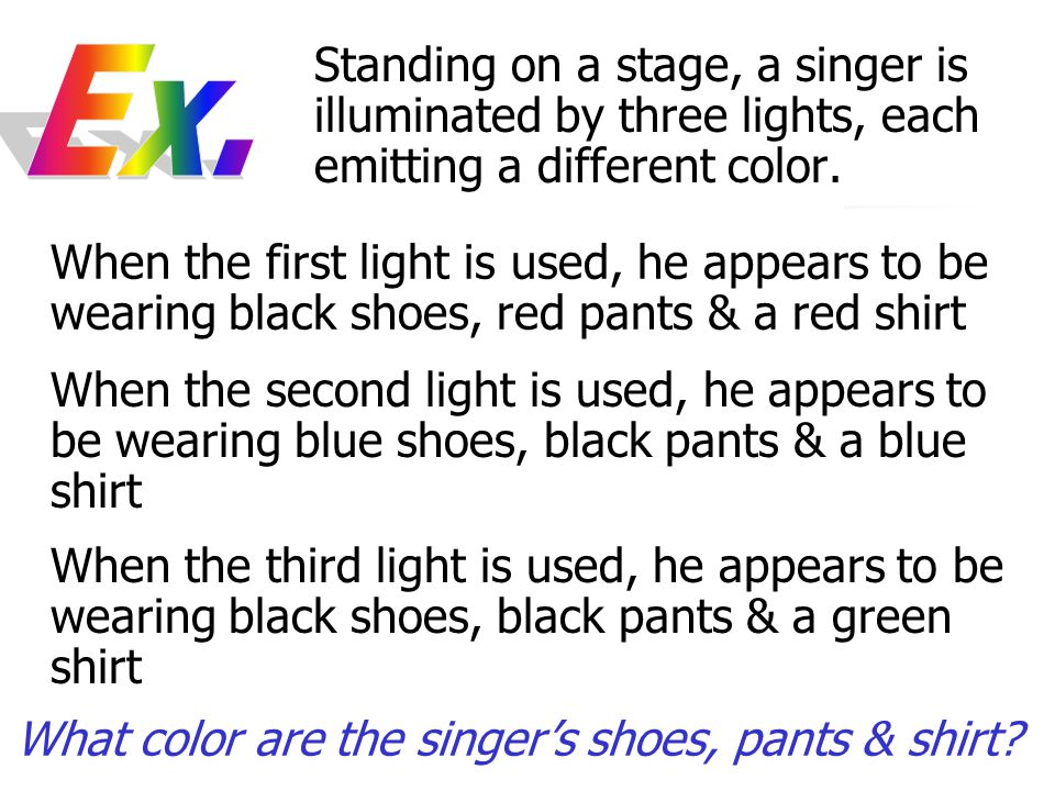 Standing on a stage, a singer is illuminated by three lights, each emitting a different color. When the first light is used, he appears to be wearing