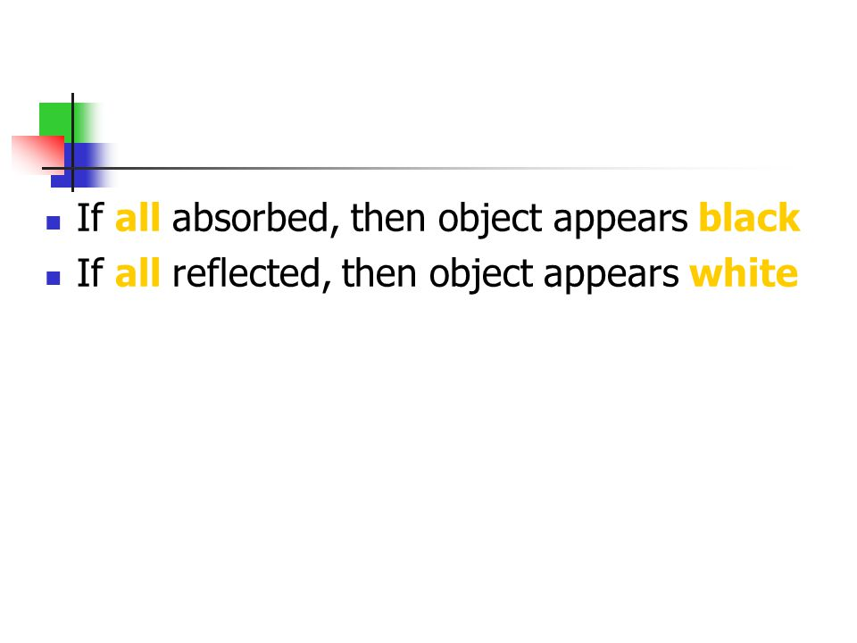 If all absorbed, then object appears black If all reflected, then object appears white