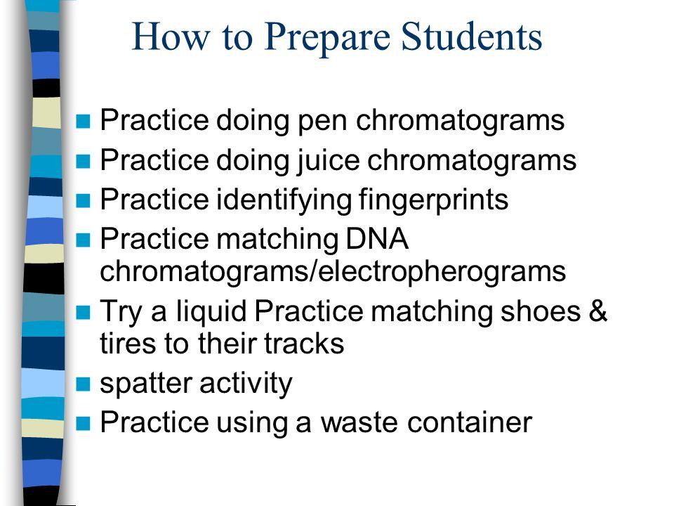 How to Prepare Students Practice doing pen chromatograms Practice doing juice chromatograms Practice identifying fingerprints Practice matching DNA ch