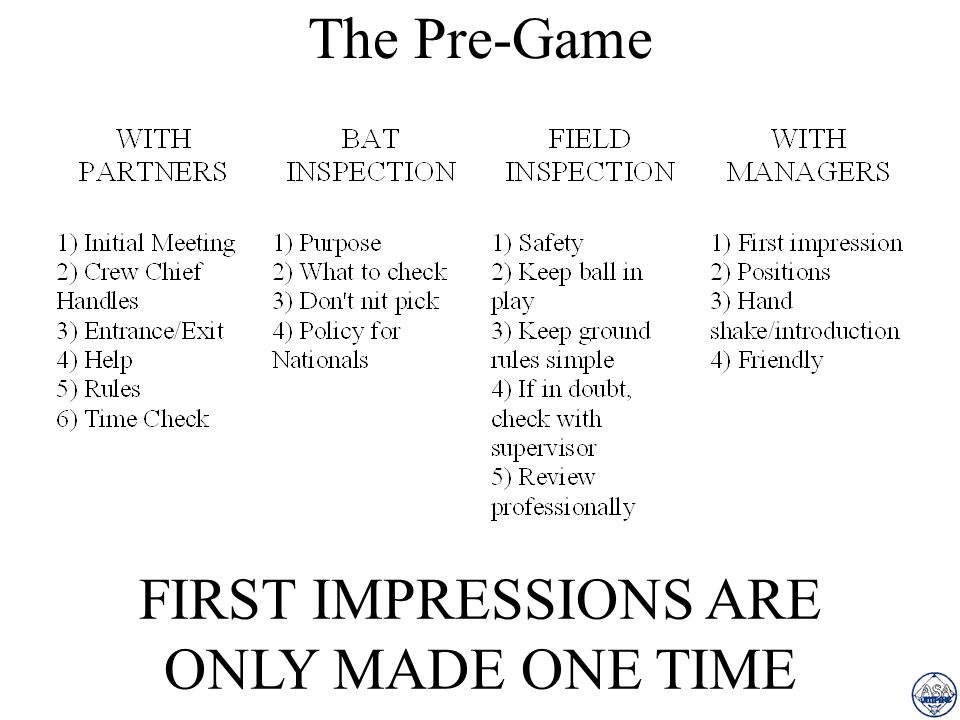 The Pre-Game FIRST IMPRESSIONS ARE ONLY MADE ONE TIME