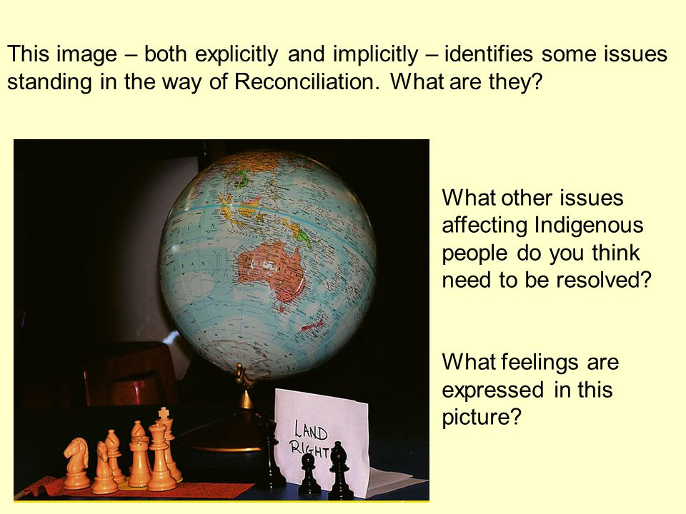 This image – both explicitly and implicitly – identifies some issues standing in the way of Reconciliation.