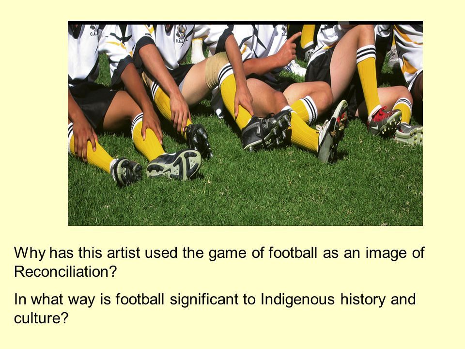 Why has this artist used the game of football as an image of Reconciliation.