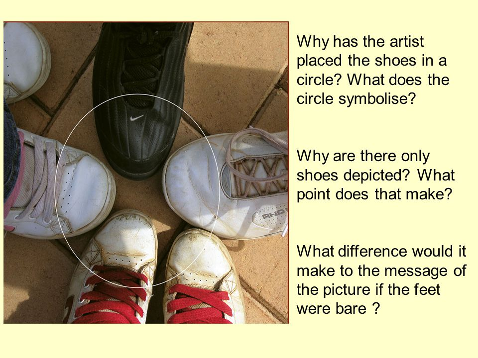 Why has the artist placed the shoes in a circle. What does the circle symbolise.