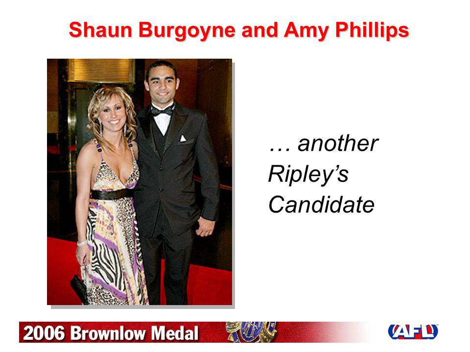 Shaun Burgoyne and Amy Phillips … another Ripleys Candidate