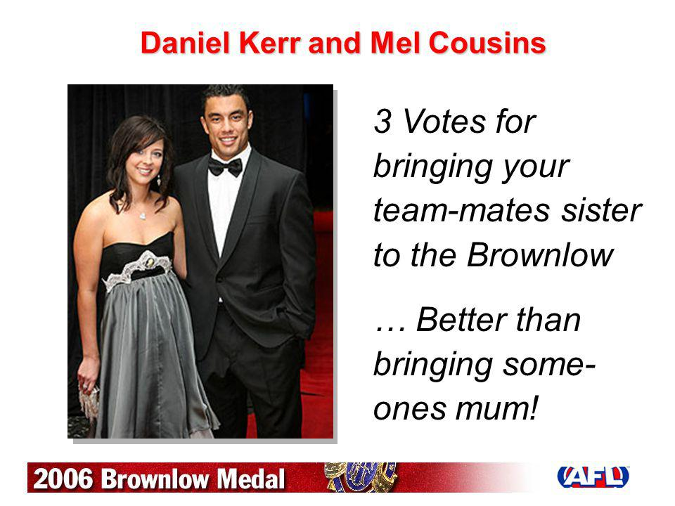 Daniel Kerr and Mel Cousins 3 Votes for bringing your team-mates sister to the Brownlow … Better than bringing some- ones mum!
