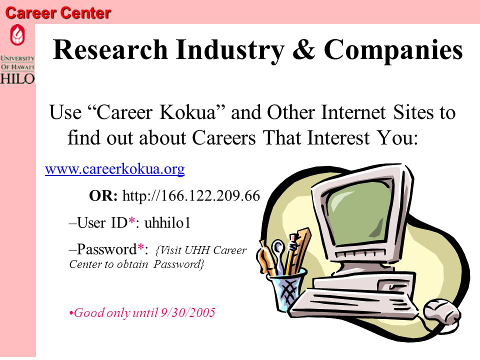 Career Center Exploring Career Fields FOUR STEPS: Research Companies.