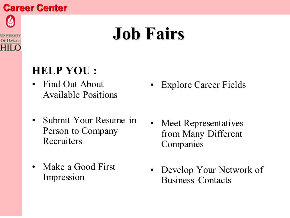 Career Center Job Fairs Useful to Students Who Are: Looking for a JobExploring Careers