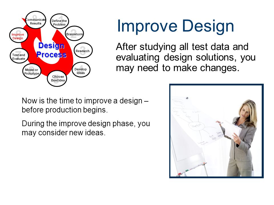 Improve Design After studying all test data and evaluating design solutions, you may need to make changes. 9 Communicate Results Design Process 2 Brai