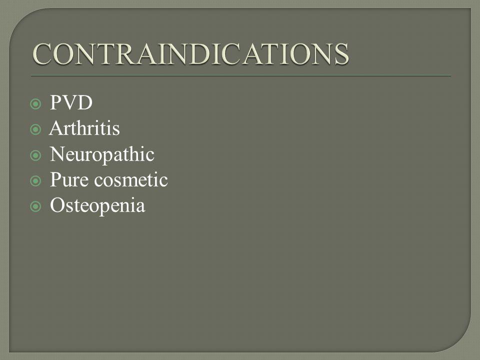 PVD Arthritis Neuropathic Pure cosmetic Osteopenia