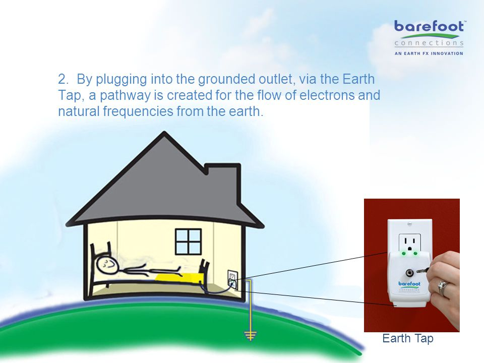 2. By plugging into the grounded outlet, via the Earth Tap, a pathway is created for the flow of electrons and natural frequencies from the earth. Ear