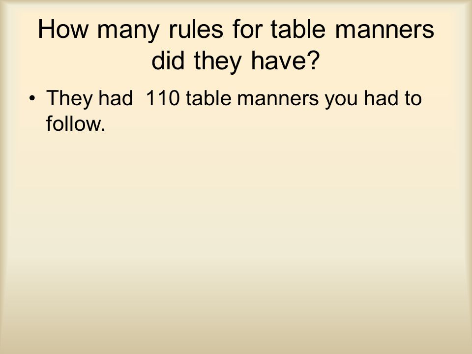 How many rules for table manners did they have? They had 110 table manners you had to follow.