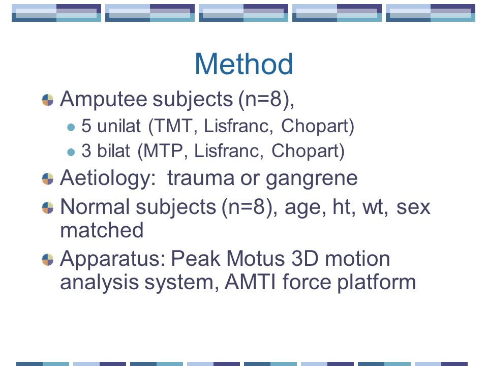 Method Amputee subjects (n=8), 5 unilat (TMT, Lisfranc, Chopart) 3 bilat (MTP, Lisfranc, Chopart) Aetiology: trauma or gangrene Normal subjects (n=8), age, ht, wt, sex matched Apparatus: Peak Motus 3D motion analysis system, AMTI force platform