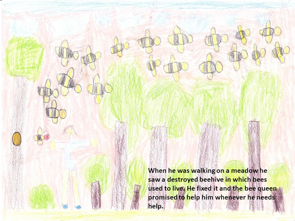 When he was walking on a meadow he saw a destroyed beehive in which bees used to live.